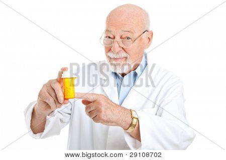 Mature pharmacist recommending a particular medicine.  Isolated on white.