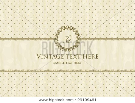 Vintage frame on polka-dot background in retro style