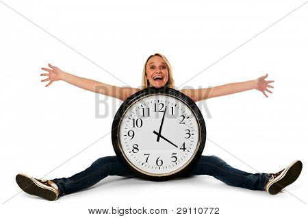 Young happy woman with a clock