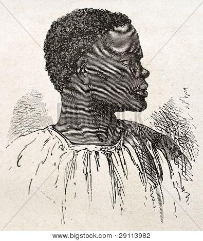 Stammes-Chef alten eingraviert Porträt (Region der südlichen Sudan). erstellt von Neuville, veröffentlicht am le tou