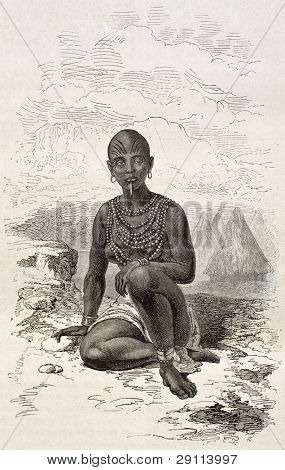 Bokke old engraved portrait (Moy's wife, chief of Latouka tribe). Created by Neuville, published on Le Tour du Monde, Paris, 1867