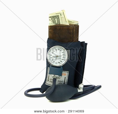 Squeezing Wallet With Blood Pressure Cuff