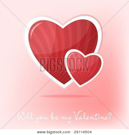 Valentine's day card with two hearts