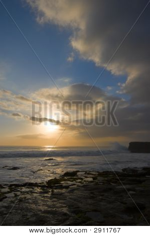 Rocky Ocean Coast At Sunset