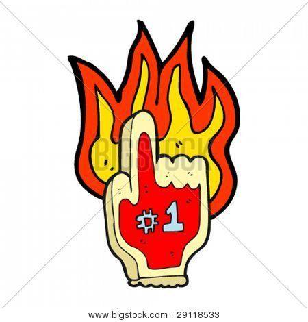 burning foam finger cartoon