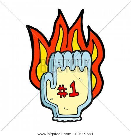 flaming sports hand cartoon