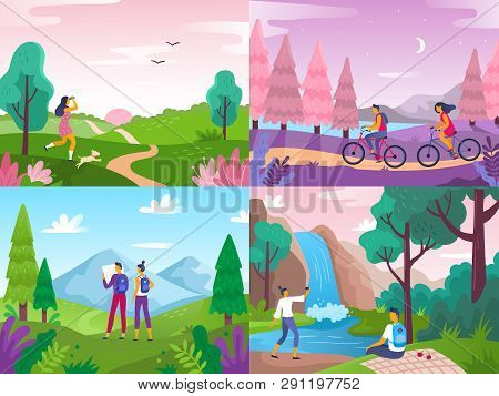 poster of Tourism On Nature. Mountaineering Travelers, Travel Explore Landscape And Traveling Sport Rest Flat