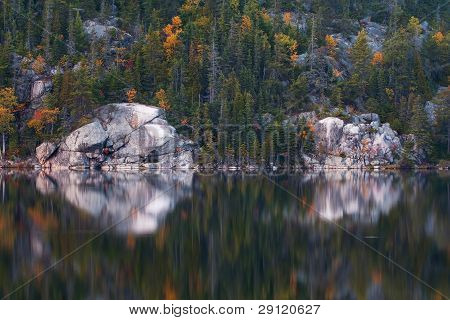 Shoreline Of Unpopulated Area Of Trees And Rock