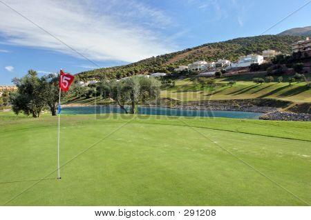 15th Green At Alhaurin Golf Course On The Costa Del Sol