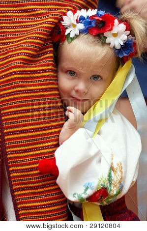 Close-up Portrait Of Prety Small Girl Dressed In Ukrainian Traditions