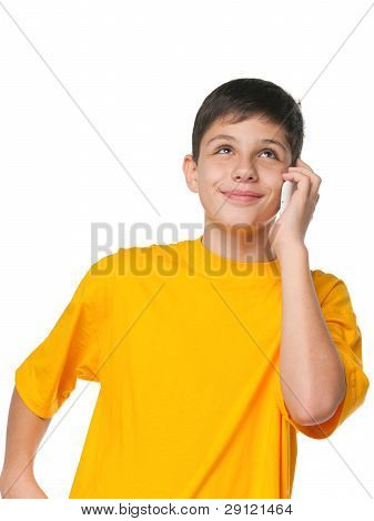 Boy In Yellow With A Cell Phone