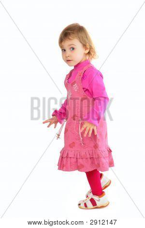 Little Girl In Pink Dress