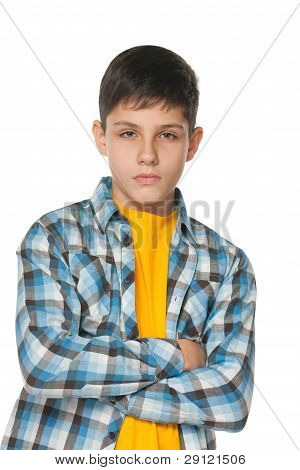 Confident Teenager In Checked Shirt