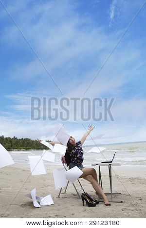 Businesswoman With Working Papers