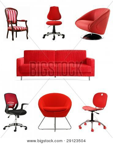cutout red furniture