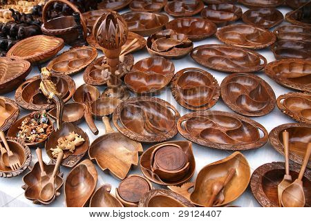 Wooden Dishes And Souvenirs