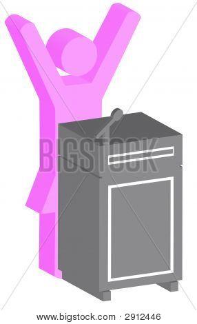 Stick Woman At Podium 3D