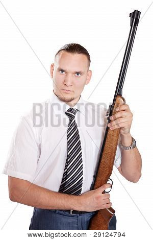 Serious Businessman With Gun