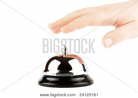 Ringing A Bell For Service With Hand