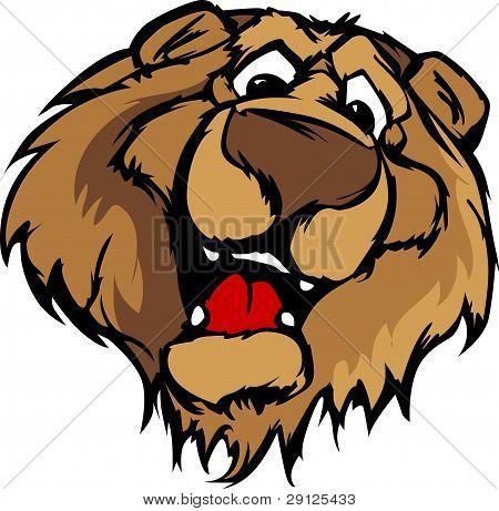 Gráfico vectorial sonriente de la oso mascota de la historieta.