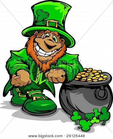 Smiling St. Patricks Day Leprechaun With Pot Of Gold