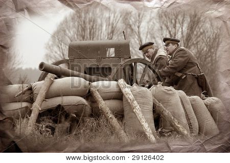 Artillery 1918. Civil War in Russia reenacting