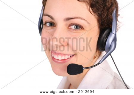Young Woman With Headset Close-Up