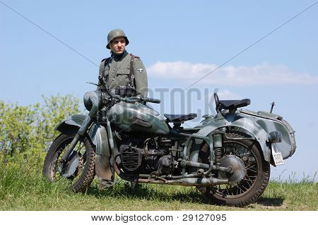 Old german motorbike. WW2 reenacting