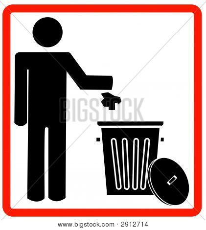 Stick Man Throwing Garbage In Trash Sign