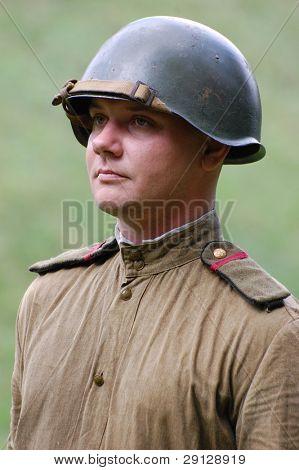 Soviet military uniform at WW2 time. Memory day of War begining. 21 june 2008 near Kiev