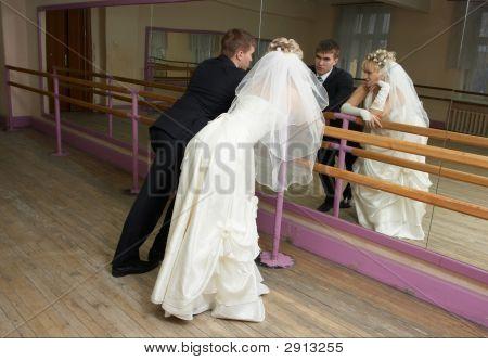 Bridegroom And Bride At A Ballet Room