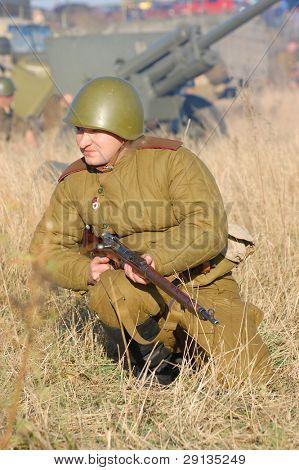 KIEV,UKRAINE - NOV 9: Person in Soviet WW2 military uniform. Member of military history club Red Star. Historical military reenacting Kiev ,Ukraine. 7-9 November 2008