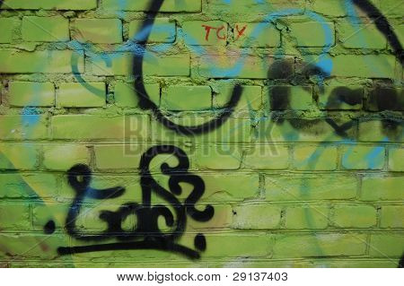 Bad district.Vandalism.Graffity on a brick wall. Kiev,Ukraine