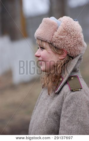 KIEV, UKRAINE - FEB 23, 2008:  Military history club Red Star.Red Army Day celebration. Person in Soviet WW2 military uniform. Historical  reenacting in Kiev, Ukraine, February 23, 2008.