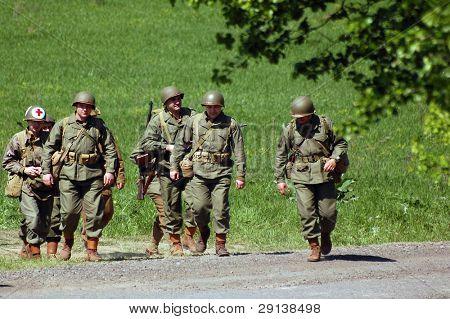 KIEV, UKRAINE - MAY 9, 2008: Member of military history club Red Star. Person in American WW2 military uniform. Historical military reenacting in Kiev, Ukraine, May 9, 2008.