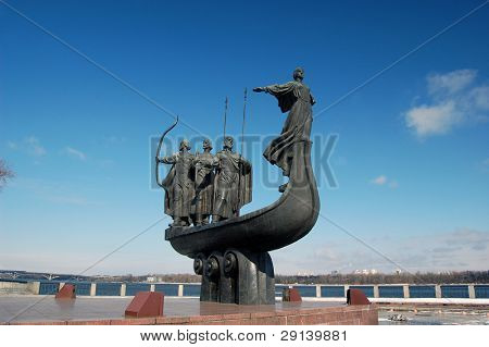 Famous monument to the mythical founders of Kiev on the Dnepr river.Kiev,Ukraine