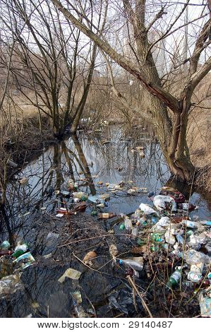 Environmental contamination. Rubbish in a river near Kiev,Ukraine