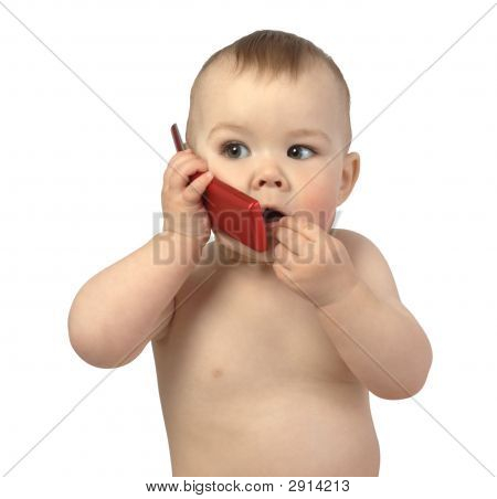 Cute Child Talking To A Cell Phone, Surprised