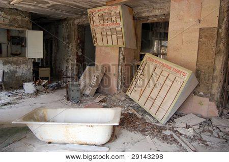 Hospital Chernobyl area. Lost city Pripyat. Modern ruins. Ukraine. Kiev region