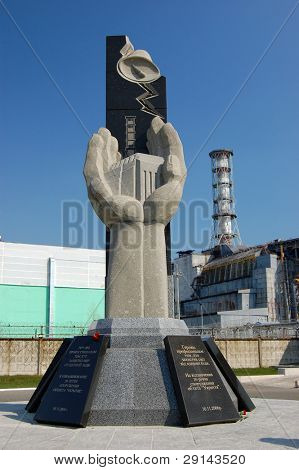Chernobyl nuclear power plant.Monument in memory of disaster. Kiev region,Ukraine