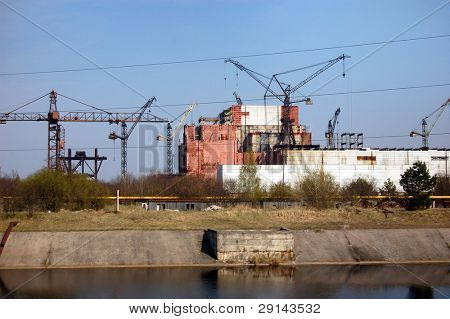 Chernobyl nuclear power plant.Abandoned construction 5 and 6 reactors. Kiev region,Ukraine