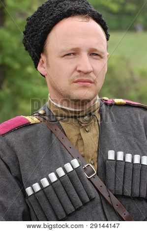 Person in Soviet military uniform of WW2 time.Cavalry