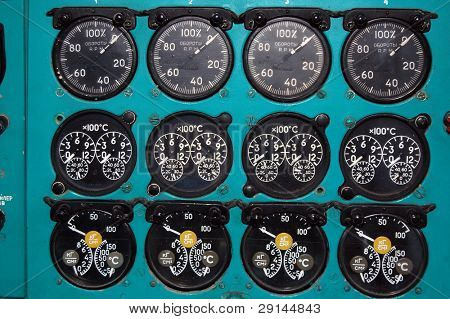 Control panel in Soviet liner.Exhibit of museum of aviation . Kiev,Ukraine (Malorussia)