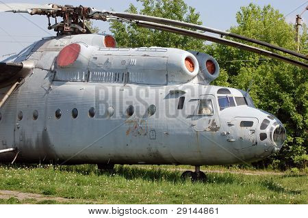The Russian military-transport helicopter Mi-6.Aviation museum of Kiev , Malorussia (Ukraine)