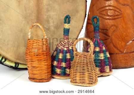 Caxixi Shakers And African Djembe Drums