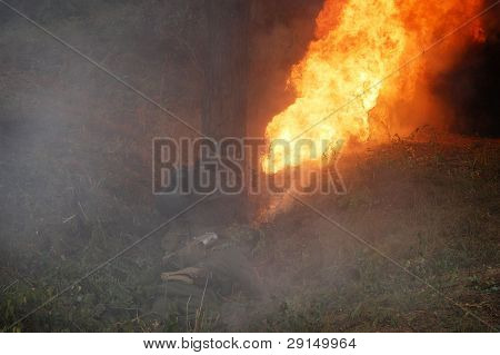 German soldier with flame-thrower.