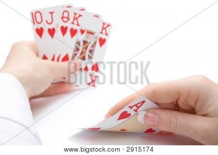 Royal Flush Poker Hand, Focus On Ace
