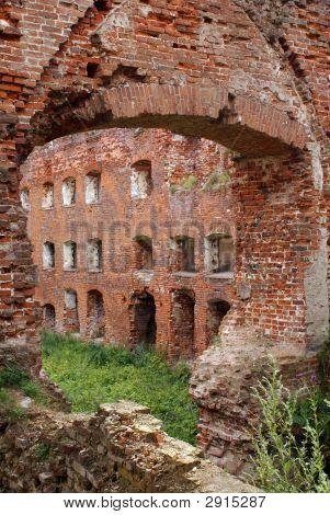 Inside old castle in Neman Prussia