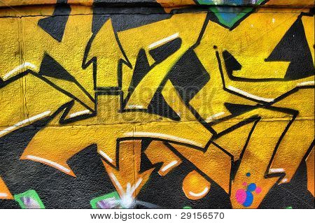 HDR.Colored background.Graffiti on a wall. Kiev,Ukraine