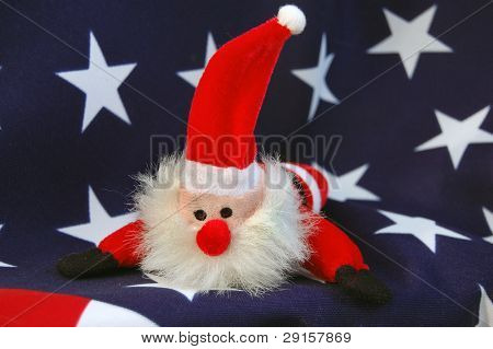 American flag and hand made Santa